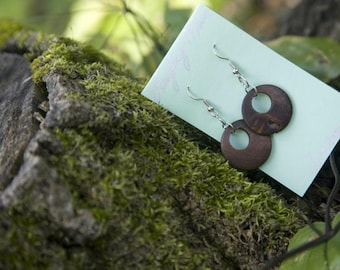 Earring in wood.Custom design you pick colour and size