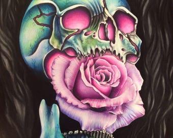 Skull rose print