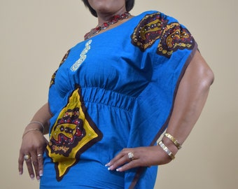 Blue Summer Ankara Blinged Dress with Elastic Waist   Made in Africa