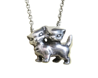 Cat Necklace    kitty kitten two headed conjoined  silver gold pendant charm jewelry