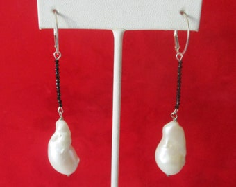 Pair of Vintage 3-Inch  Sterling Silver & Baroque Pearl Earrings With Tiny Black Spinel Beads