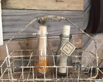 Vintage metal milk bottle basket / carrier farmhouse / industrial storage organization