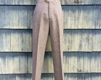 Vintage Tweed Wool Pleated Pants / Vintage Jack Winter Wool Pants / 1960s Jack Winter Wool Pants / Vintage Tan Tweed Wool Pants - Size 14