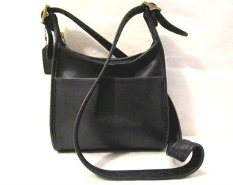 COACH Leather Bag Coach Leather Purse Black-Blue leather shoulder bag