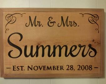Customizable Mr. & Mrs.  Established Wedding, Anniversary Sign