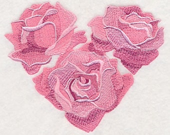 Heart of Roses Embroidered Tea Towel, Heart of Roses Embroidered Flour Sack Towel, Heart of Roses Towel, Roses Towel, Heart Towel