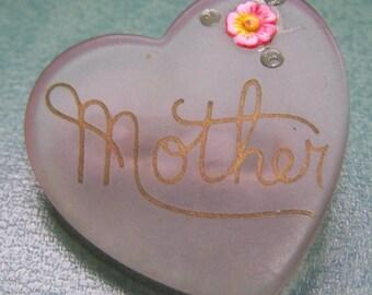 Vintage Lucite heart shaped MOTHER brooch