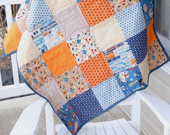 Space quilt, Outer space baby quilt, astronaut baby quilt, blue baby quilt, orange baby quilt, baby boy quilt, ready to ship