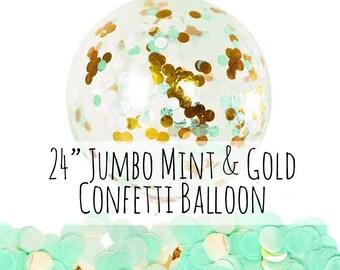 "24"" Mint and Gold Confetti Balloon, Big Confetti Balloon, Mint Tissue Paper Confetti Filled Balloon, Party Decoration, Wedding, Photo Prop"