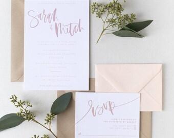 The Sarah - Simply Blush Brush Lettering Wedding Invitation Suite