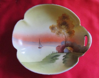 Hand Painted Nippon Bowl Serene Sailboat and Country Scene Handpainted Nippon