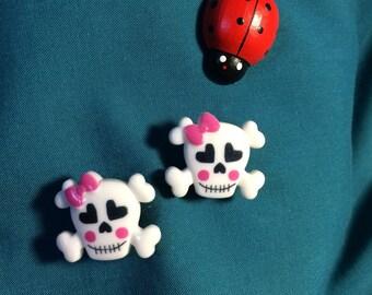 Cute Girly Pink BOW Heart Eyes SKULLS SKULL Crossbones Cross Bones Grunge Punk Clog Shoe Charms