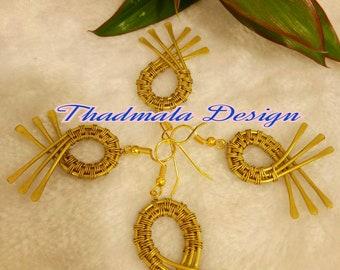 boho wire woven earring