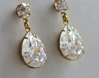 Crystal Post Earrings Swarovski Crystal Rhinestone Earrings 14K Gold Fill Vintage Glam Jewelry Wedding Earrings Bridal Jewelry