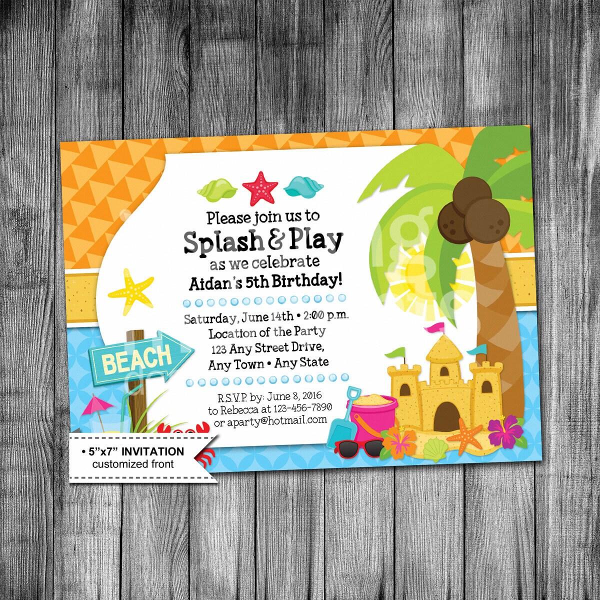 kids beach birthday invitation beach party invitation