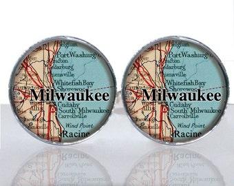 Milwaukee Wisconsin Map Luck Round Glass Tile Cuff Links CIR174