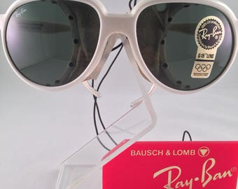 Vintage RayBan Cats B&L White Glacier Sunglasses With Leather Side Shields New