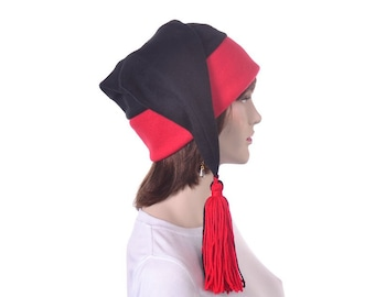 Black and Red Phrygian Cap Stocking Hat with Tassel Mens Costume Hat