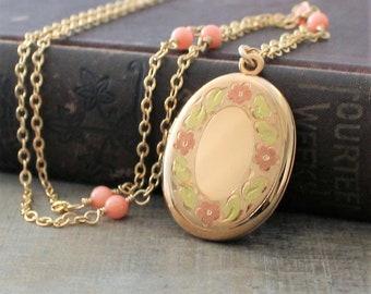 Enamel Locket, Gold Locket Necklace, Gold Oval Locket Pendant, Gold Photo Locket, Coral Necklace, Push Gift, Vintage Locket, Gift for Mom
