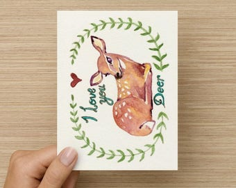 I Love You Deer Greeting Card