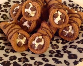 Peanut Butter and Carob Dog Cannoli filled with Vanilla Yogurt Icing Katrinas Barkery