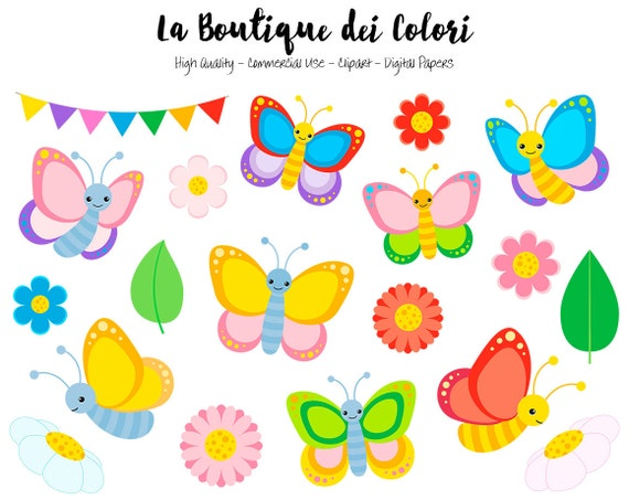 colorful butterfly clipart cute graphics png spring bugs rh etsy com butterflies clip art black and white butterflies clip art free