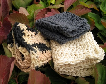 Black Hills Hand-Crocheted Dishcloth/Washcloth Set in Dusk, Ecru, and Variegated Neutrals