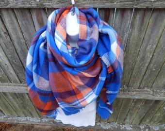 Orange / Blue Plaid Blanket Scarf