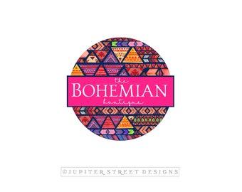 Bohemian Logo-Tribal Logo-Aztec Logo-Boutique Logo-Navy Blue Logo-Pink Logo-Branding-FREE font change