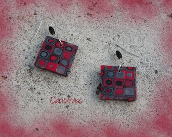 Square polymer clay earrings