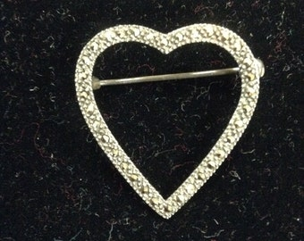 Sterling silver vintage heart brooch with marquisettes