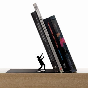"""Metal Bookend // shaped as Falling Books // Bookends // Metal Book Accessories // Unique Gift // """"Falling bookend"""" by ArtoriDesign"""
