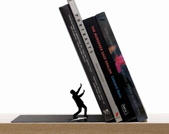"Metal Bookend // shaped as Falling Books // Bookends // Metal Book Accessories // Unique Gift // ""Falling bookend"" by ArtoriDesign"
