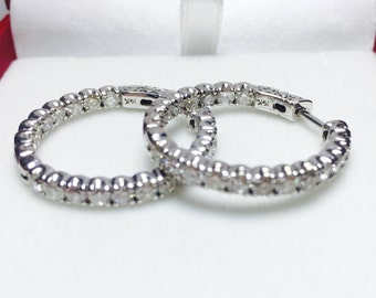 Stunning 1.86CT Diamond Hoop Earrings l 14KT White Gold Diamond Earrings l Diamond Hoops