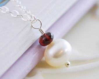 Dark Red Genuine Garnet January Birthstone Necklace Semiprecious Gemstone Child Sterling Silver Jewelry Freshwater Pearl