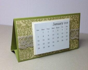 Mini Desk Calendar - 2018 Small Desk Calendar - Coworker Gift - Teacher Gift - TearAway Calendar - Trifold Calendar with Lace Accent
