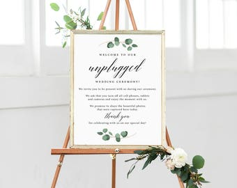 Unplugged Wedding Sign, Greenery Wedding, Printable, Unplugged Ceremony, Calligraphy, Simple