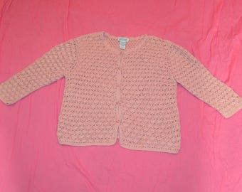 Womens VIntage Northern Reflections Pink Crochet Cardigan Sweater - Size Medium - 100% Cotton