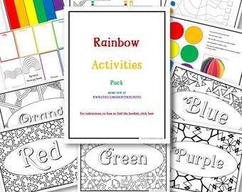 Rainbow Toys Printable, Screen Free Activities, Preschool and Kindergarten Games, Rainbow Games Printable, Quiet Rainbow Toys for kids