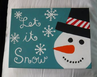 Hand Painted Canvas - Snowman