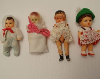 Lot #2 of miniature dolls 3 inches - vintage - various countries - collection