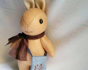 Felt Bunny Rabbit Doll with Scarf and Hand Embroidered Bag, Handmade Brown Rabbit Felt Plush, Bunny Stuffed Toy