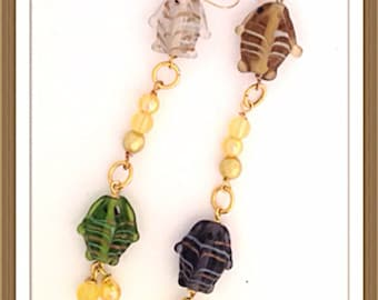 Handmade MWL lampwork fush beaded earrings. 0294