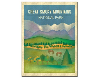 SALE Great Smoky Mountain Card, National Park Art, Tennessee Print, Smoky Mountain skyline, Smoky Mountain map art - style O-GR-SMO
