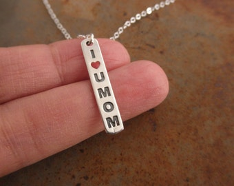Love you mom necklace - mom gift - vertical bar necklace - message necklace - 925 solid sterling silver