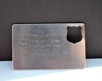 Hand Stamped Card - Police Officer Gift - Personalized Card with Message - Prayer Card - Aluminum Wallet Insert Card