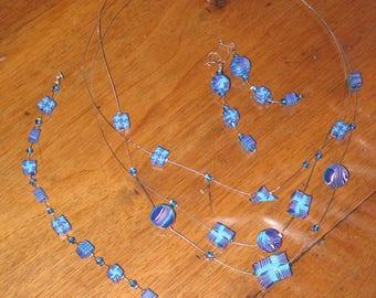 Set of turquoise / blue / purple