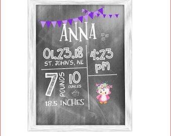 Baby Subway Art - birth announcement wall art - chalkboard bear or owl
