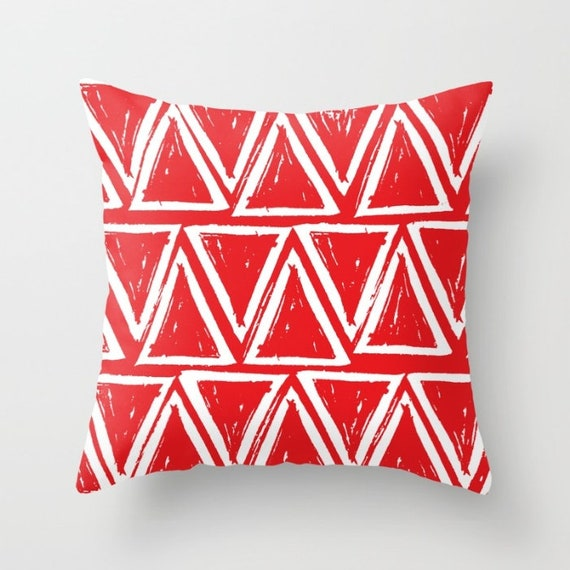 OUTDOOR Throw Pillow . Red Outdoor Pillow . Red patio cushion . Modern Geometric Pillow Triangle . 16 18 20 inch . Scarlet Lumbar Pillow