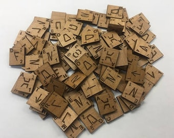 Alder Wood Aurebesh Scrabble Tiles